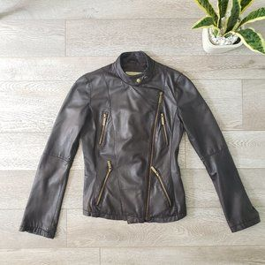 Michael Kors Genuine Leather Moto Jacket Size XS